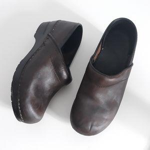 Dansko Professional Brown Leather Slip On Clogs
